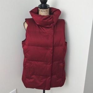 J.Jill Down Puffer Vest Button Down Size M Red